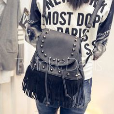 Fashion Fringe and Rivets Design Women's Satchel