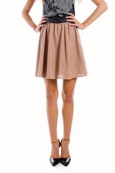 Vegan Leather Mesh Skirt in Blush