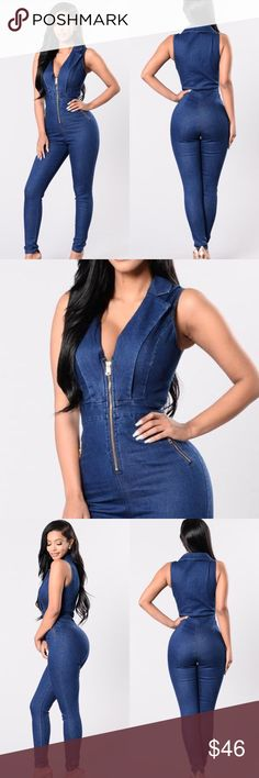 blue denim jean skinny zip moto jumpsuit romper This fabulous medium denim blue Jay Low (JLo) style jumpsuit will show off your fabulous figure. Size L will fit up to a 9/10. Brand new & sealed in original packaging. Pants Jumpsuits & Rompers