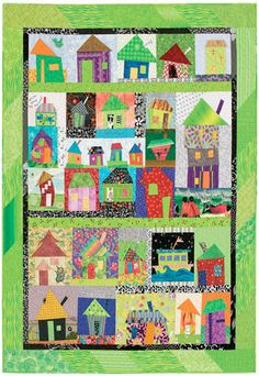 Wonky Town | March/April 2009 | Quiltmaker. A scrappy village with funky odd-shaped houses. Inspired by the free piecing methods of Tanya Ricucci.