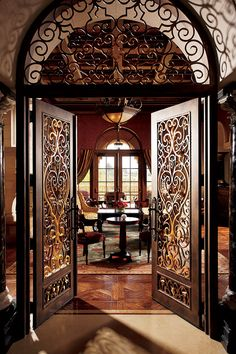 """ADDISON at the Grand Del Mar • San Diego, CALIFORNIA • American French • European marble bar, intimate library and terrace seating. Framed by magnificent arched windows, the stunning main dining area affords beautiful views of the resort's Tom Fazio golf course, while the wine cellar in the center of the room hilights the world-class wine tasting offered here. ethereal flavors """"ultraposh"""" """"opulent villa"""" surroundings where you're """"treated like royalty • 858-314-1900 • www.addisondelmar.com"""