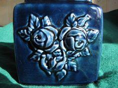 Vintage Sweden Vase Rose Flowers Cobalt Blue Guldkroken Artist Marta Grunditz #1