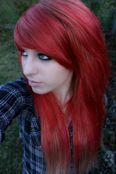 Blood red emo hair; emo makeup; emo girl style. Woods; forest; night