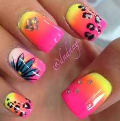 pink and yellow nails! so cute!