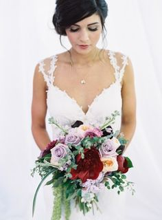 berry bouquet - photo by Austin Gros http://ruffledblog.com/berry-toned-garden-wedding-splendor
