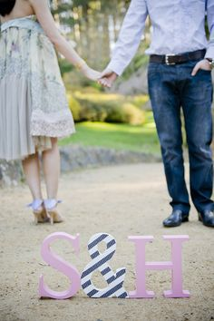 Standing letter engagement shoot. Love the striped ampersand. Photography by erinking.com.au