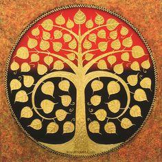 Bodhi Tree, Thai Art, Buddha Art, Tree Wall Art, Door Design, Hand Painted, Traditional, Artist, Painting