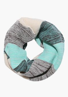 The Classic Stripe Knit Infinity Scarf in Green