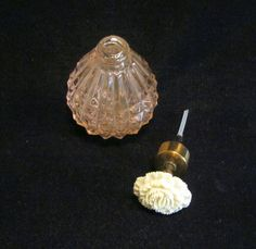 1940s Atomizer Perfume Bottle Pink Depression Glass Floral Carnation Excellent…