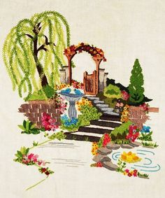 Floral Courtyard Vintage Finished Kit Completed Elsa Williams Crewel Embroidery #ElsaWilliams