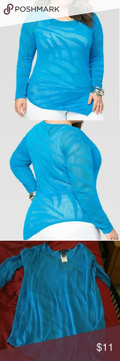 FLASH SALEBlue palm stich blouse Stunning. Slightly see-through. Put a cami under in color of choice to make this blouse pop. Would also look good as a swimsuit cover up. Ashley Stewart Tops Blouses