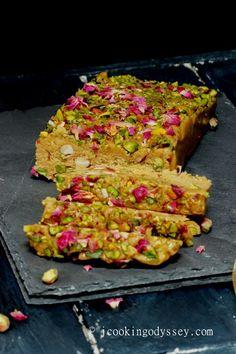 Jagruti's Cooking Odyssey: Rose Pistachio Sesame Tahini Halva /Halvah - I Cook Different Gourmet Recipes, Sweet Recipes, Cooking Recipes, Indian Dessert Recipes, Indian Sweets, Arabic Sweets, Halva Recipe, Vegan Candies, Orange Recipes