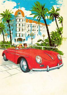 Tropez Postcard an art print by Patrick Leger Communication Art, Travel Illustration, Postcard Design, France, Vintage Travel Posters, Paris, Magazine Art, Deco, Illustrators