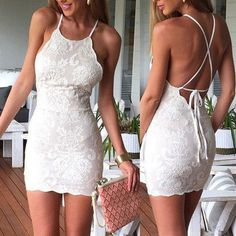 short Prom Dresses ,prom gown,White lace short prom dress, white homecoming dress by DestinyDress, $165.41 USD