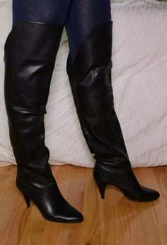 Nine West Over The Knee Black Leather High Heel Boots 9 Brazil late 80s vintage | eBay