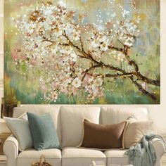 Hand Painted Modern Beautiful Flower On The Tree Oil Painting Home Decoration Living Room Wall Art Picture On Canvas Cuadros Living Room Canvas, Living Room Art, Metal Tree Wall Art, Canvas Wall Art, Art Pour Salon, Images D'art, Room Wall Painting, Wall Paintings, Flower Landscape