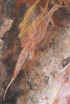 Aboriginal Art Animals: monitor lizard Injalak Hill Arnhem land northern territory Australia
