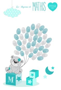 Turquoise blue balloons baptism footprint tree, original baptism gift, signature tree – Little Pop Studio - Finance Baby Crafts, Diy And Crafts, Baby Shower Garcon, Theme Bapteme, Deco Baby Shower, Blue Balloons, Baptism Gifts, Family Kids, Cubs