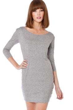 ShopSosie Style : Cozy 3/4 Sleeve Dress in Light Grey {with leggings}
