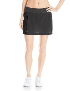 Outdoor Research Women's Peregrine Skort, Large, Black. Elastic Waist with Draw cord. Breathable and Lightweight. Wicking and Quick Drying. Movement-Mirroring Stretch. Zippered Back Stash Pocket.