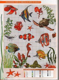 2 of 2 Cross Stitch Sea, Cross Stitch Animals, Counted Cross Stitch Patterns, Cross Stitch Charts, Cross Stitch Designs, Cross Stitch Embroidery, Embroidery Patterns, Hand Embroidery, Needlepoint Stitches