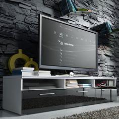 meuble tv design blanc avec éclairage led intégré | idées pour la ... - Grand Meuble Tv Design