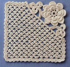 Crochê com Amor : Square com Flor em Crochê com Gráfico