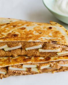 Almond Butter and Apple Breakfast Quesadilla Apple Breakfast, Make Ahead Breakfast, Brunch Recipes, Breakfast Recipes, Breakfast Quesadilla, Sweet Paul, Pancakes And Waffles, Vegetarian Cooking, Almond Butter