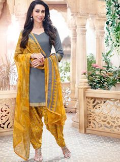 Buy Karisma Kapoor Gray Cotton Punjabi Suit 59880 online at lowest price from vast collection at m.indianclothstore.c.