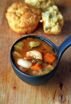 Minestrone Soup: A simple, vegetarian version.  Good pantry staples recipe