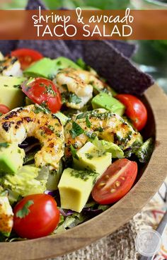 Shrimp and Avocado Taco Salad is light and refreshing with a shrimp marinade that doubles as the salad dressing!