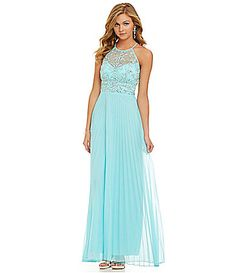 B Darlin Illusion Beaded Halter Neckline Gown #Dillards