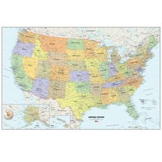 Display this WallPops® Map of the USA in your kid's study room or your classroom. It is a colorful and detailed illustration of the country's states and their key cities. This map also has a zoomed in illustration of Alaska and Hawaii. It is re-positionable, removable and erasable.