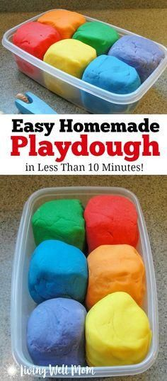 Need an activity for kids that will keep them busy for hours? This easy homemade playdough recipe has been tested by thousands of moms and kids all across the world. It works! This play dough is quick and easy (it takes less than 10 minutes to make) and it???s non-toxic and cheaper than the store bought stuff!