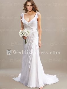 This elegant wedding dress features in great Chiffon. The winsome V-neckline in a wrap-style accents ruffles that extend backward. The natural waist is decorated with a flower detail on one side. There is a hidden back zipper and a chapel train. An ideal option as a beach wedding dress.