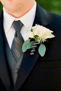 Classic black tie boutonniere (Photo by jHenderson Studios)