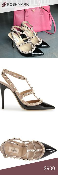 Black patent Valentino Rockstud T-strap pump Black patent t strap pumps. Comes with box but no dustbag. Purchased from Nordstrom. 35.5. offers welcomed. Valentino Shoes Heels