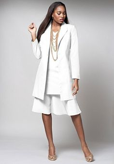 Three-Piece Duster Pant Suit | Plus Size Pant Suits | Roamans