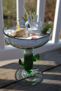 Miniature Beach in Cactus Margarita Glass by LandscapesNMiniature, $32.00