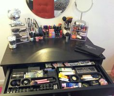 My makeup vanity && makeup organization. All done within a very reasonable budget && super affordable! Desk- target $98 Acrylic lipstick holder- target $9 drawer organizers- target $4 ea Acrylic drawers- amazon $12 ea. Glass Brush holders- Michaels $2 ea. 1 bag of vase filler to hold brushes- Hobby Lobby $4 Qtip holder- target $4 Mirror on the wall- target $12 (clearance) Standing Personal mirror- target $15 <3S.