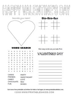 Valentines Day Party Activity Sheet
