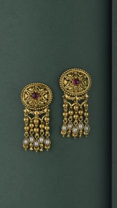 Ornate gold earrings with a cascade of handcrafted beads Jewelry Design Earrings, Gold Earrings Designs, Gold Bangles Design, Gold Jewellery Design, Antique Jewellery Designs, Gold Jewelry Simple, Choker, Pearl, Wedding