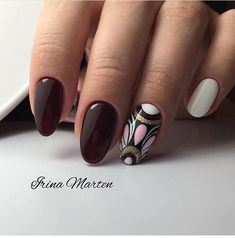Maroon nails with a picture photo Maroon Nails, Red Nails, Burgundy Nails, Gel Nail Polish Colors, Nail Colors, Polish Nails, Nail Designs Spring, Cool Nail Designs, Modern Nails