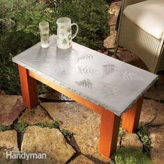 Create a polished concrete table with a solid wood base, with inlays of glass, leaves, tile or other materials. This project is simple enough for even a beginner to tackle and give you some insight into working with concrete. Concrete Furniture, Concrete Projects, Diy Furniture, Furniture Stores, Outdoor Furniture, Furniture Plans, Cement Crafts, Furniture Websites, Furniture Layout