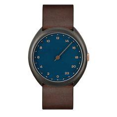 slow O 14 - Dark Brown Vintage Leather, Anthracite Case, Blue Dial