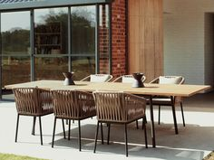 Shop for Bitta Braided Modern Outdoor Dining Set 7 Piece to match your style and budget at CozyDays Contemporary Garden Furniture, Luxury Garden Furniture, Modern Outdoor Furniture, Simple Furniture, Wicker Furniture, Kettal Furniture, Modern Outdoor Dining Sets, Outdoor Spaces, Outdoor Living