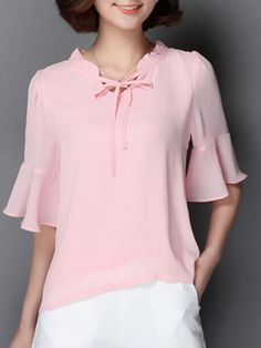 Buy Plain Falbala Exquisite Cowl Neck Blouses online with cheap prices and discover fashion Blouses at Fashionmia.com.