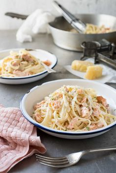 Salmon Alfredo Pasta - Fettuccine tossed in a creamy parmesan sauce and salmon a magic combination!