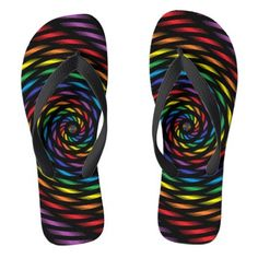 #A Rainbow Pinwheel in Motion Flip Flops - #womens #shoes #womensshoes #custom #cool