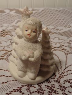 Vintage Christmas Girl Figurine - Glitter Snow Baby Figurine - 13-1769 by BubbiesMemories on Etsy